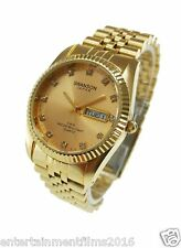 Swanson Men's Gold Day-Date Watch Gold Dial with Stone Numbers