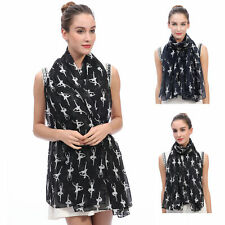SCARF SHAWL WRAP WITH BALLERINAS DANCER PRINT GIFT FOR LADIES WOMEN