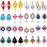 Fashion Women Charm Jewelry Rhinestone Crystal Flower Ear Stud Ear Clip Earrings