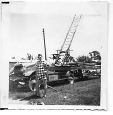 Man Next To Old Hook & Ladder Firetruck Photo 1956