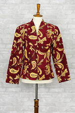 Vintage Julia Kim 80s Embroidered Blazer Jacket Small S Beaded Red Paisley Gold