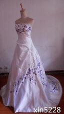 Strapless White Satin With Purple Embroidery A-line Bridal Wedding Dress Gowns