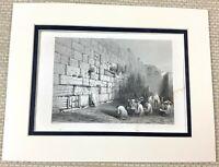 1860 Antique Engraving Print Judaica The Western Wall Jerusalem Kotel Wailing