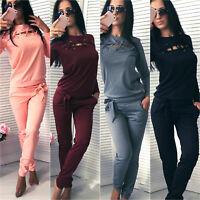 Women Lace Up Sweatshirt Tops Pants Set Tracksuit Jogging Sport Suit Lounge Wear