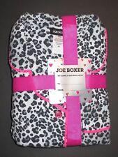 Joe Boxer notch collar women flannel pajama set 2pc S sz white animal print NWT