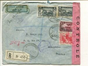 Lebanon double censor reg air mail cover to England 21.10.1940