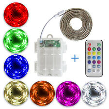 LED RGB Strip Lights 4.5V Battery Powered Remote Waterproof Sideboard Longboard