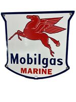 """IR-56 VINTAGE STYLE """"MOBILGAS'' MARINE  GAS & OIL PLATE PORCELAIN SIGN 12 IN."""