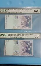 "2000 MALAYSIA RM 1 ""REPLACEMENT"" Running 2 Notes Both PMG63 EPQ [P-39b*]  @ ZM"