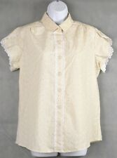 Haband For Her blouse top shirt  Beige floral short sleeve Button Down Size Med