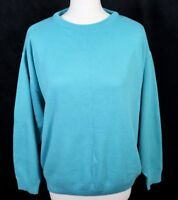 Vintage BHS 80s Turquoise Jumper 14 16 Oversized Mom Boxy Blue Sweater USA 90s