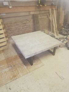 Caveman Furniture Industrial Metal And Solid Wood Coffee Table