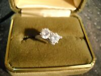 ~Signed LaFonn Sterling Silver Simulated Diamonds Ring~
