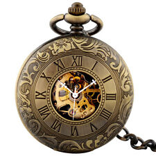 Men's Steampunk Double Hunter Mechanical Pocket Watch Chain Fob Necklace Windup