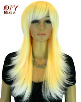 New Women Golden & Blonde Mix Straight Heat Resistant Cosplay Long Hair Full Wig