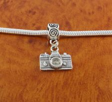 Camera dangle charm slider bead for silver European charm bracelet or necklace