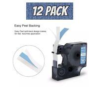12 Pack DYMO 1805243 1/2in White on Blue VINYL LABELS RHINO 4200 5000 5200 6000