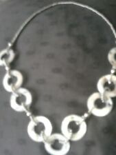 MARKS AND SPENCER GREY SILVER & WHITE ABELONE NECKLACE