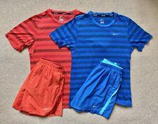 Nike Gym Running Kit Red/Blue Track Shorts T-Shirt Mens SMALL