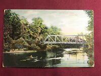 The Yellow River Knox Indiana 1908 Postcard River Bridge scene