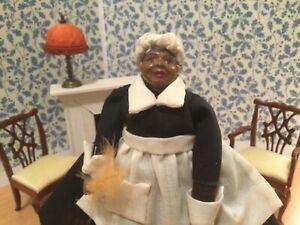 Rare Dollhouse Miniature Artisan African American Cook Maid Doll 1:12