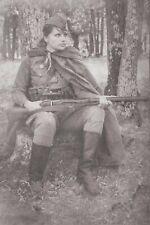 Soviet woman sniper in Uniform Rare Antique Soldier Old War Photo WW2 4x6 W
