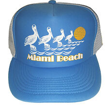 Miami Beach Pelican  Snapback Mesh Trucker Hat Cap Light Blue