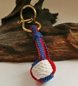 Schlüsselanhänger Affenfaust blau / weiß /rot ca. 13 cm Kugel-Ø: ca. 3 cm