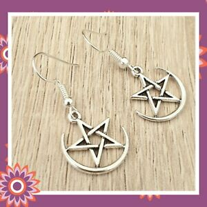 Silver Moon and Pentagram Earrings Pentacle Pagan Wiccan Goth Withcraft Gift