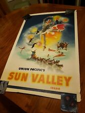 Original Vintage Poster Union Pacific  Sun Valley Idaho RAILROAD Travel Poster
