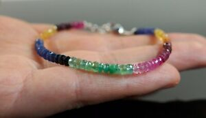 100% Natural Multi Sapphire,Ruby,Opal,Emerald Beads Bracelet 925 Silver Clasp