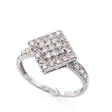 Shape Halo Modern Right Hand Ring 14k White Gold 0.45 Carat Round Diamond