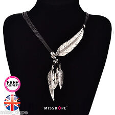NEW SILVER CRYSTAL ROPE CHAIN FEATHER PENDANT NECKLACE WOMENS LADIES CHARM BOHO