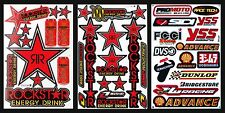 Red Rockstar Energy Graphics Kits Decals Motocross Helmet Tool Box Stickers 3S5