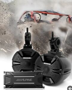 "ALPINE PSS-SX01 ATV/UTV SOUND SYSTEM BLUETOOTH 6-1/2"" SPEAKER PODS KTA-30FW 4 CH"