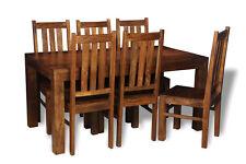 DAKOTA DARK SOLID MANGO 180CM DINING TABLE AND 6 DAKOTA CHAIRS (31N&621N)