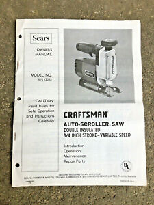 Sears Craftsman 315.17251 Auto Scroller Scroll Saw Owners Parts Manual