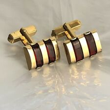 Vintage Swank Cufflinks Gold Red Ruby Tone Stones Inlay Rectangle