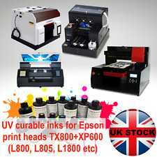 UV curing ink for flatbed printer (CMYK W) Epson TX800, XP600, L800,L805, L1800