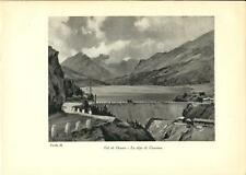 Stampa antica VALDIDENTRO Diga di Cancano Valtellina Sondrio 1934 Old print