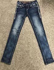 Rock Revival Womens Ruella Skinny Jeans  Rhinestone Mid Rise Embellished 24 X 31