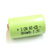 1 x 1/2 A 1/2A 800mAh 1.2V Volt NiCd Ni-Cd Rechargeable Battery Green with Tabs