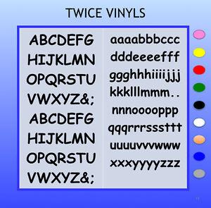 SELF ADHESIVE LETTERS stickers graphics 15mm high vinyl alphabet set Comic Sans