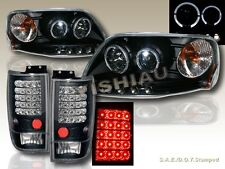 1997-2002 Ford Expedition Halo Projector Headlights LED + LED Tail Lights Black