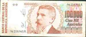 ARGENTINA 100000 AUSTRALES 1990. PICK 336. VF CONDITION
