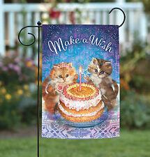 NEW Toland - Kitten Wishes - Cute Kitty Cat Birthday Cake Wish Garden Flag