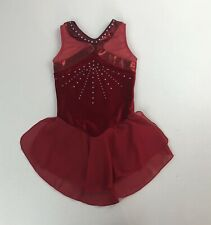 Girls GK Red Velvet & Rhinestone Ice Skating Gymnastics Skirted Leotard Sz L