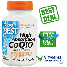 HIGH ABSORPTION CoQ10 With Bioperine Doctor's Best Heart Health 100 mg 120 Sgels