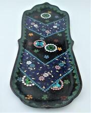 More details for antique japanese shippo aventurine cloisonne enamel pen tray meiji c 1900