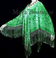 Green Silk Burnout Velvet Poncho Fringe Top Shawl Hand Dyed Maya Matazaro